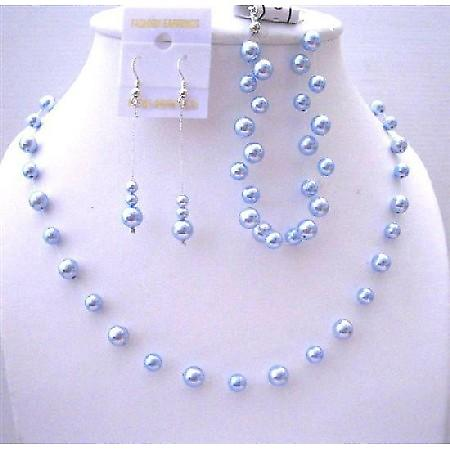 Bridesmaid Blue Pearls Jewelry Handcrafted Necklace & Earrings Set