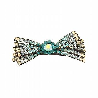 Bridal Hair Barrette Sapphire Aquamarine Blue Zirconia Clear Hair Clip