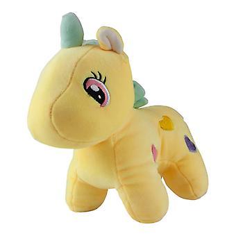 Unicorn with hearts, plush toys/stuffed animals-Yellow