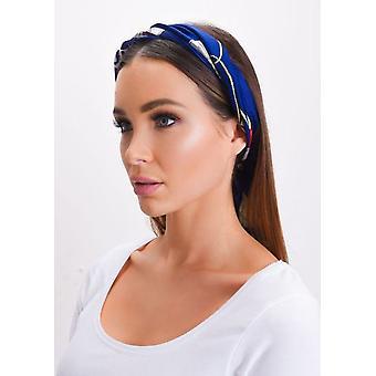 Sciarpa di seta quadrato raso testa catena blu stampa