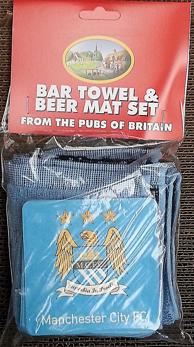 Manchester City FC Cotton Bar Towel and 10 Beermats (pp)
