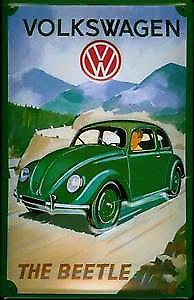 VW Beetle (green in mountains) embossed steel wall sign   (hi 2030 pt)