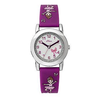 s.Oliver banda de silicone relógio crianças menina SO-3761-PQ