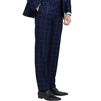 Добелл Mens флота костюм брюки регулярные подходят синие Windowpane проверка