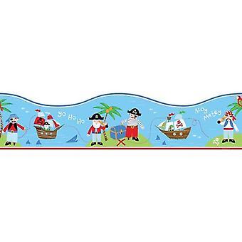 Unter dem Motto Kinder Schlafzimmer Piraten Boot Meer Wallpaper Border blau rot grün