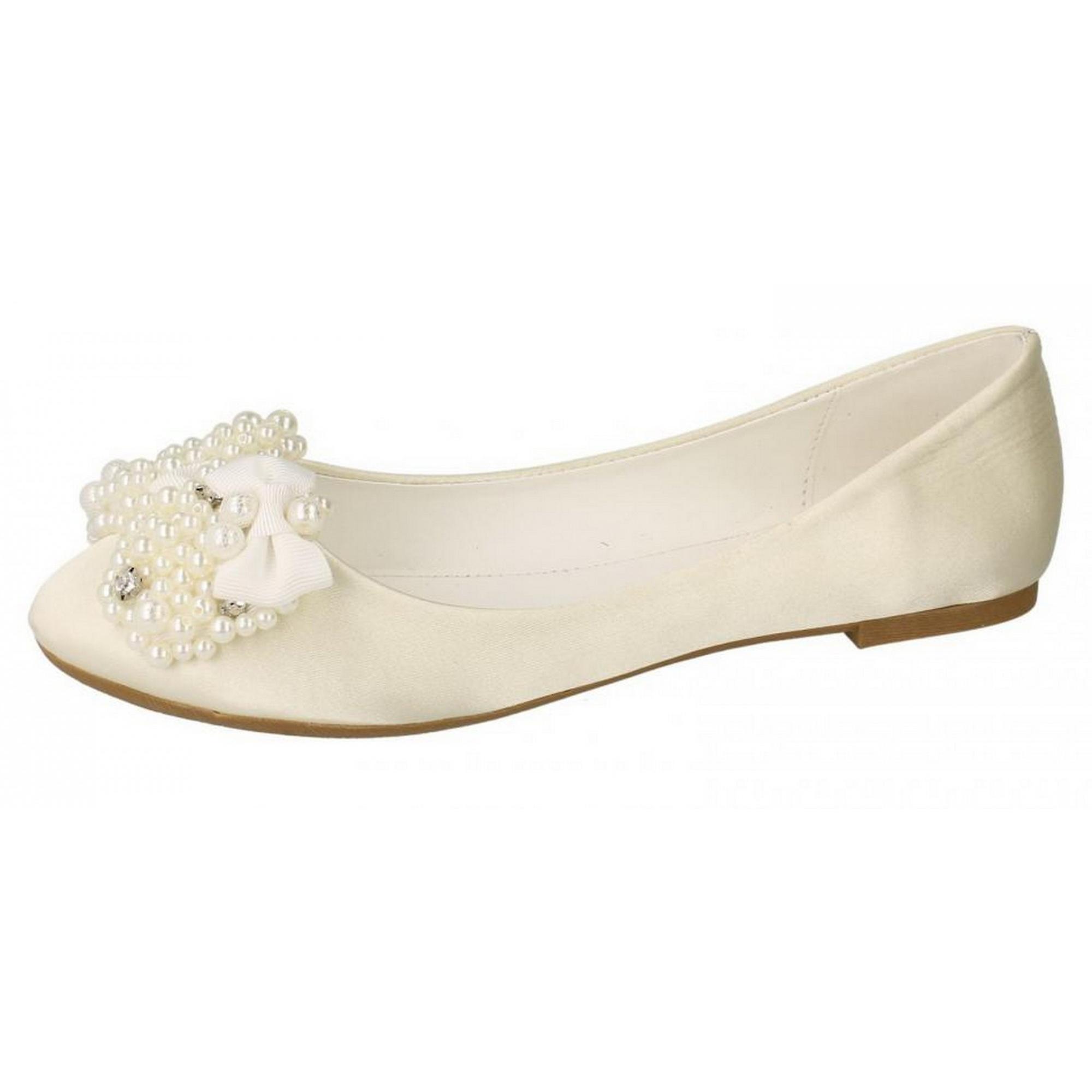 save off 0f072 b4dd2 Fleck auf Damen/Damen flache Ballerina Brautschuhe mit Perlen Bogen