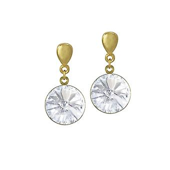 Eternal Collection Rivoli Clear Austrian Crystal Gold Tone Drop Pierced Earrings