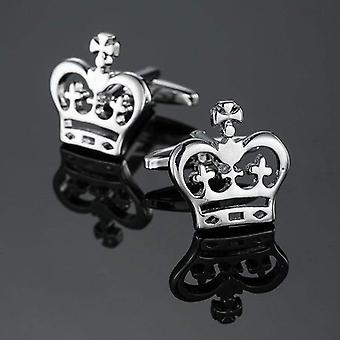 Silver crown royal themed suit steel men's cuff links