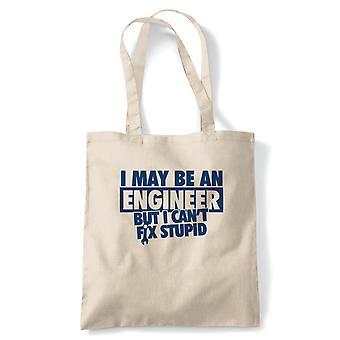 Jag kan vara en ingenjör Funny Tote-skämt present | Ingenjör mekaniker Royal Navy ingenjörer Engineering | Återanvändbara shopping bomull canvas lång hanteras Natural Shopper miljö vänligt mode
