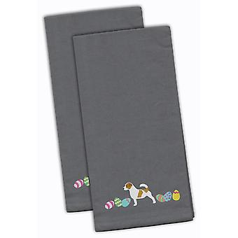 Jack Russell Terrier Easter Gray Embroidered Kitchen Towel Set of 2