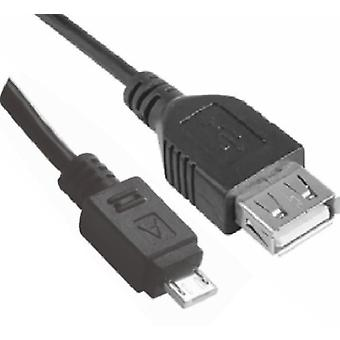Micro USB Male to USB Female OTG Adapter Converter Cable Black