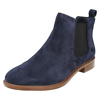 Ladies Clarks Chelsea Boots Taylor Shine Navy Suede Size 4D