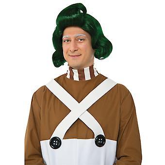 Oompa Loompa Willy Wonka y la fábrica de Chocolate verde hombres traje peluca