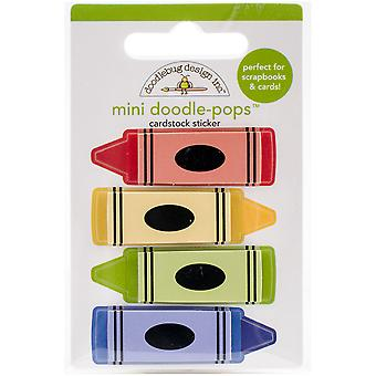 School Doodle-Pops Embellished 3-D Stickers-Colorful Crayons SCHDP-4568
