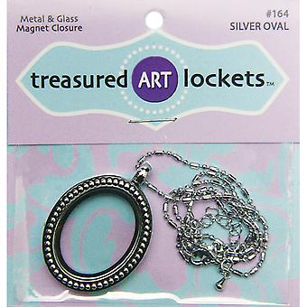 Jewelry Locket 1/Pkg-Silver Oval QLOCKET-164