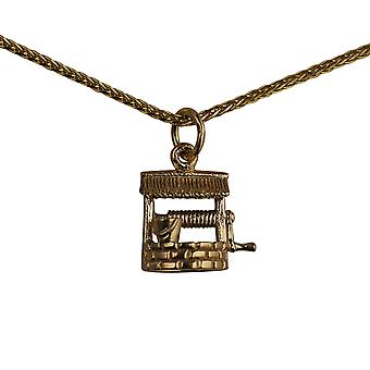 9ct Gold 12x13mm Wishing Well Pendant with a spiga Chain 16 inches Only Suitable for Children