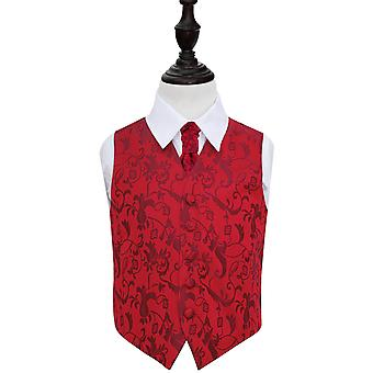 Boy's Burgundy Passion Floral Patterned Wedding Waistcoat & Cravat Set