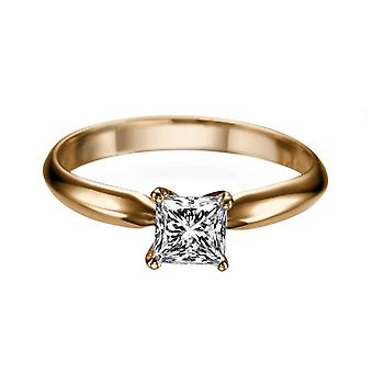 0.4 Carat F SI2 Diamond Engagement Ring 14K Rose Gold Solitaire Classic Princess
