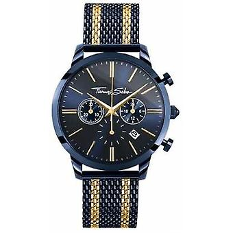Thomas Sabo Mens Rebel Spirit Blue Steel Yellow Gold Stripes Chronograph WA0290-286-209-42 Watch