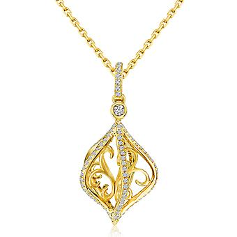 14k Yellow Gold Cage Swirl Diamond Fashion Pendant with 18