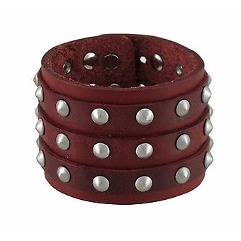 Brown Leather 3 Row Cone Spiked Wristband Wrist Band