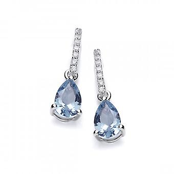 Cavendish French Delicate Aqua CZ and Silver Teardrop Earrings