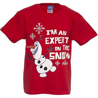 Boys Frozen Olaf T-shirt | Disney Olaf Tshirt | Official | EXPERT ON THE SNOW | Youth | 5-6 | RED