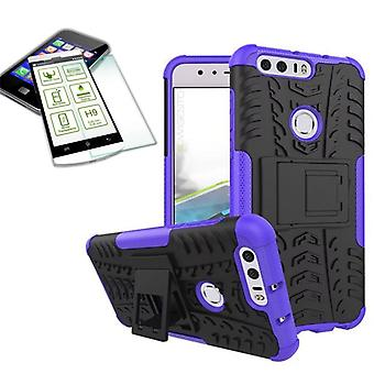 Hybrid case of 2 piece purple for Huawei honor 8 + bulletproof bag case cover