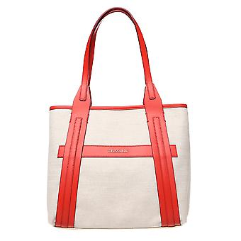 Trussardi hand Tote with large handles, fabric and calf leather ï 34x27x16 ï .75 Cm .75 – – Mod. 76B120M