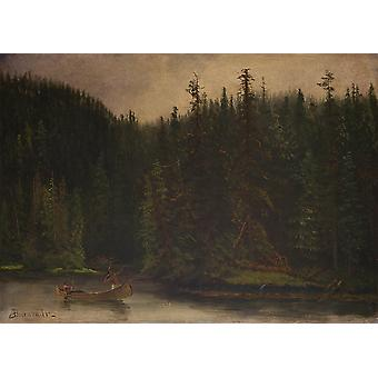 Albert Bierstadt - Indian Hunters in Canoe Poster Print Giclee