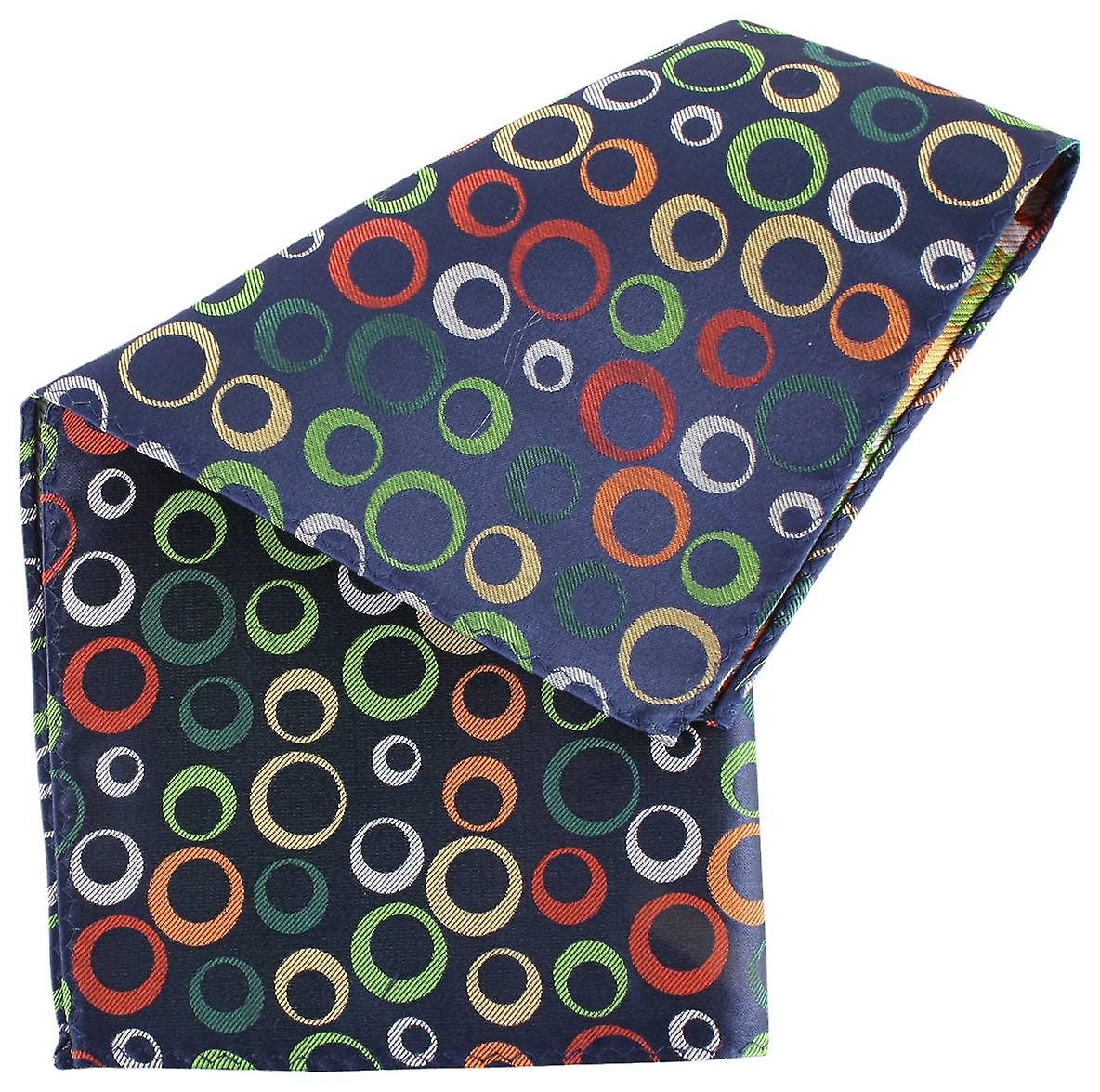 Knightsbridge Neckwear Circles and Stripe Silk Pocket Square - Black
