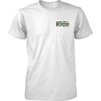 Nazwa efekt flaga kraju RPA Grunge - męskie piersi Design T-Shirt