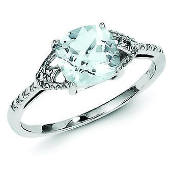 スターリングシルバー洗練されたオープン バック ロジウムめっきロジウム メッキ ダイヤモンドとアクアマリン リング - 指輪のサイズ: 6 に 9