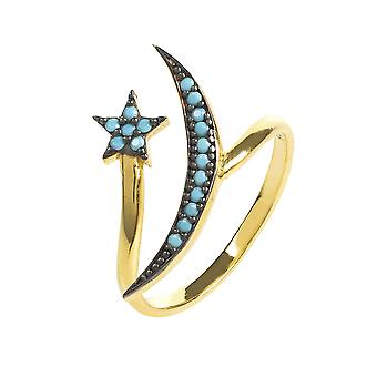 Moon and Star Ring Gold Turquoise