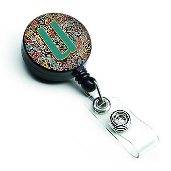 Letter U Retro Tribal Alphabet Initial Retractable Badge Reel