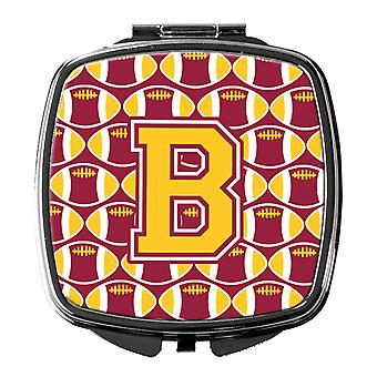 Letter B Football Maroon and Gold Compact Mirror