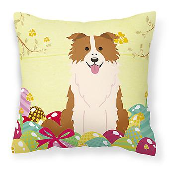 Easter Eggs Border Collie Red White Fabric Decorative Pillow