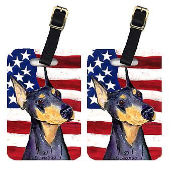 Pair of USA American Flag with Doberman Luggage Tags