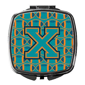 Letter X Football Aqua, Orange and Marine Blue Compact Mirror