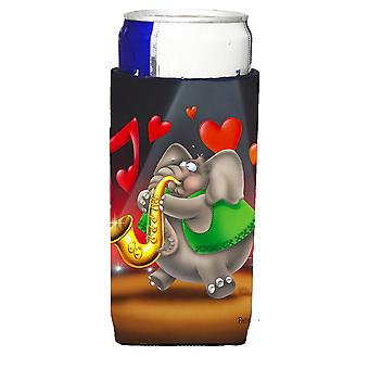 Elephant playing the Saxaphone Michelob Ultra beverage Insulator for slim cans