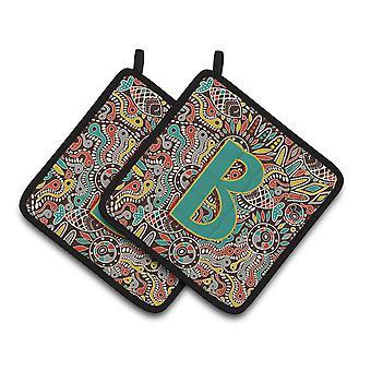 Letter B Retro Tribal Alphabet Initial Pair of Pot Holders