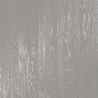 Wood Effect Wallpaper Distressed Wooden Grain Loft Wood Grey Metallic Silver