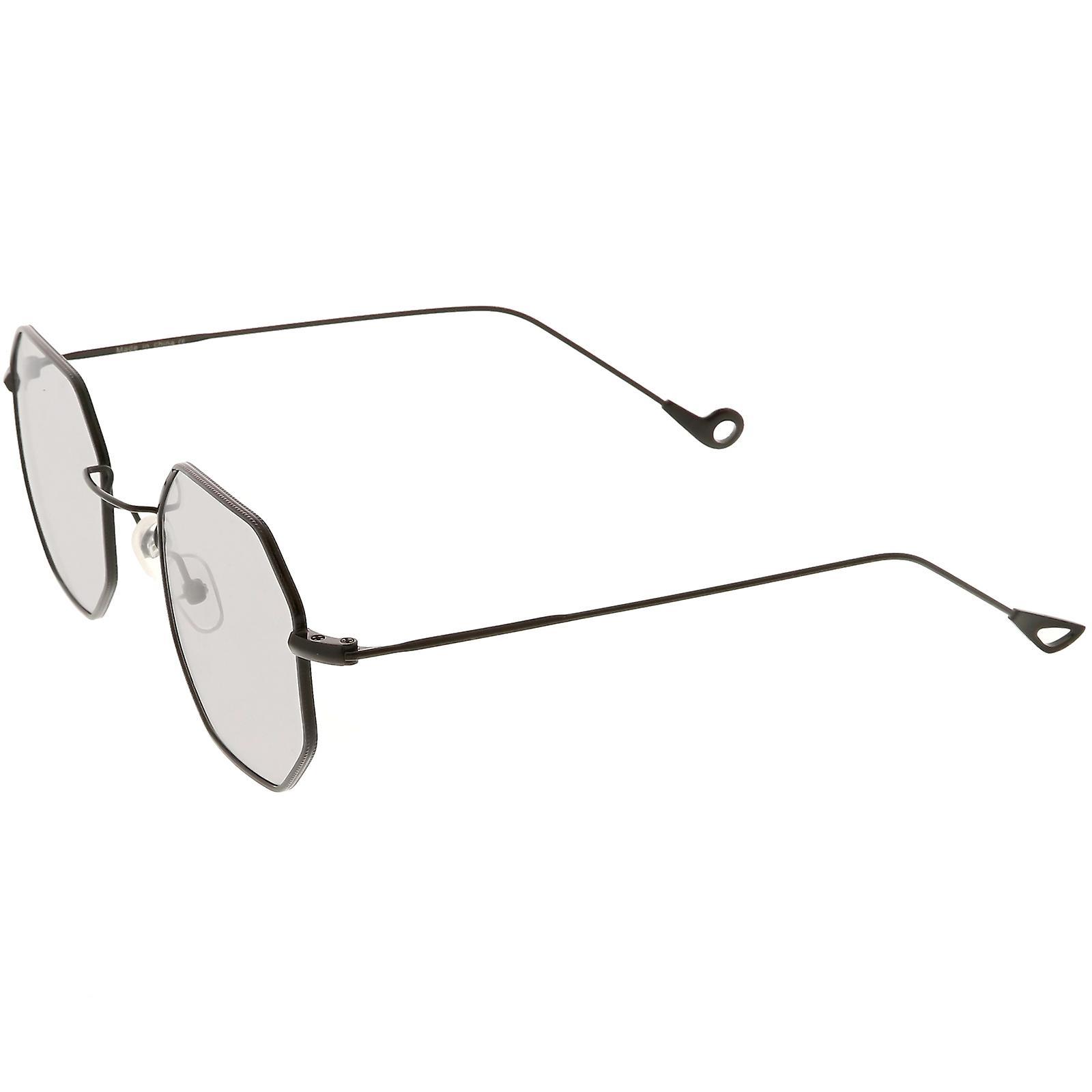 f10da6aaf6 Premium Geometric Octagon Sunglasses Ultra Slim Metal Color Tinted Flat  Lens 49mm