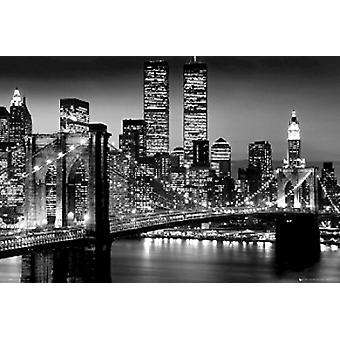 New York City Brooklyn Bridge notte Poster Poster stampa