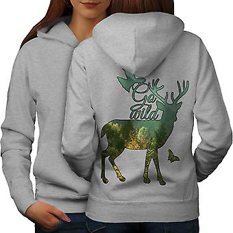 Cervo Eagle natura animale donne GreyHoodie Back | Wellcoda