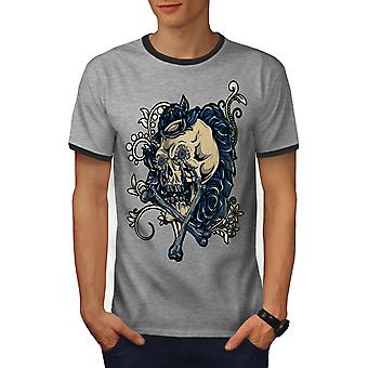Rose Art Metal Rock Skull Men Heather Grey / Heather Dark GreyRinger T-shirt | Wellcoda
