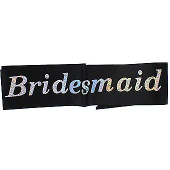 "Hen Night ""Bridesmaid"" Black Sash With Silver Writing Hen Party Accessory"