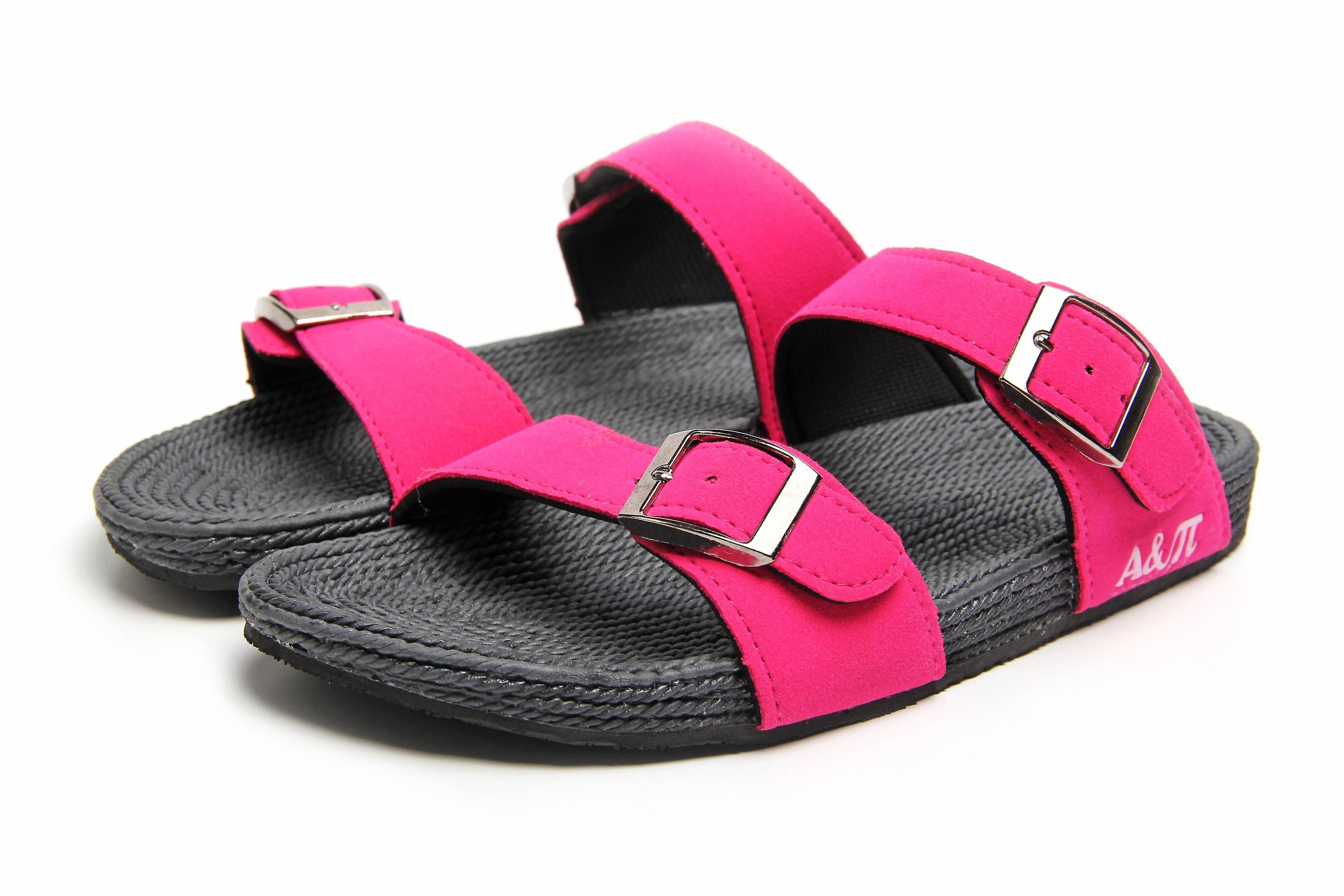 Atlantis Shoes Women Supportive Cushioned Comfortable Sandals Dual Band Fuchsia-grey