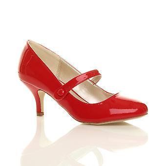 Ajvani dame lav midten hæl mary jane rem arbejde part Domstolen sko pumper