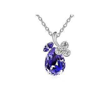 Womens Purple Diamante Crystal Silver Tone Flower Petal Teardrop Pendant Necklace